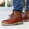 New Big Size Real Leather Men Boots Winter Man Warm Shoes Ankle Boots Men's Snow Shoes Martin Cowboy Winter Man Fur Velvet Flats