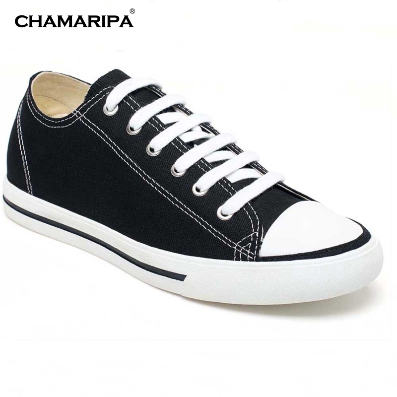 цены CHAMARIPA Classic Elevator Shoes Men Increase Height 6cm/2.36 inch Taller Board Shoes Canvas Sports Hidden Wedge H52C08K011D