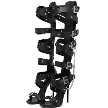 Summer Sexy Ladies Metal Buckle Hole Straps Knee High Sandals Boots Stiletto High Heels Metal Chains Women Cut Out Long Botas