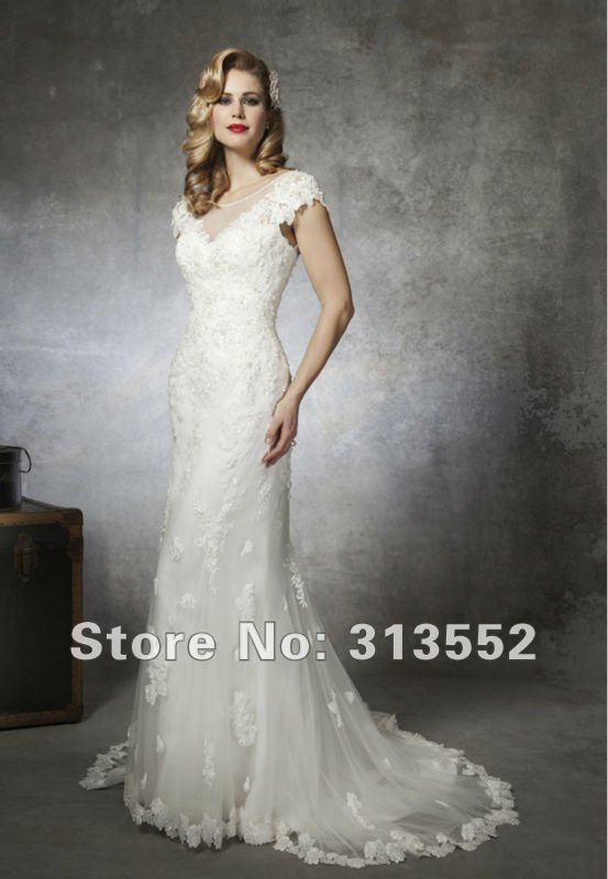 Modest Mermaid Lace Wedding Dress With Sheer Raised Neck Cap Sleeves