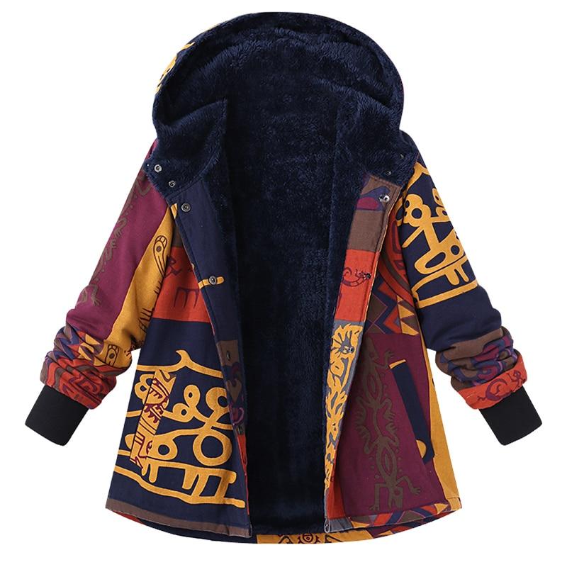 2019 Plus Size ZANZEA Winter Women Hooded Long Sleeve Pockets Outerwear Vintage Floral Printed Fluffy Warm Basic Jackets Coat