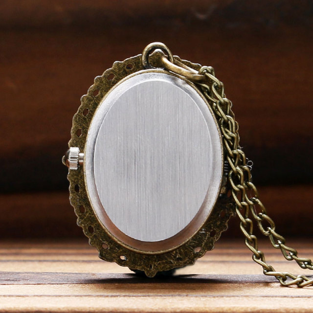 Fashion White Rose Bronze Pocket Watch Necklace Quartz Pendent Chain Girl Lady Women