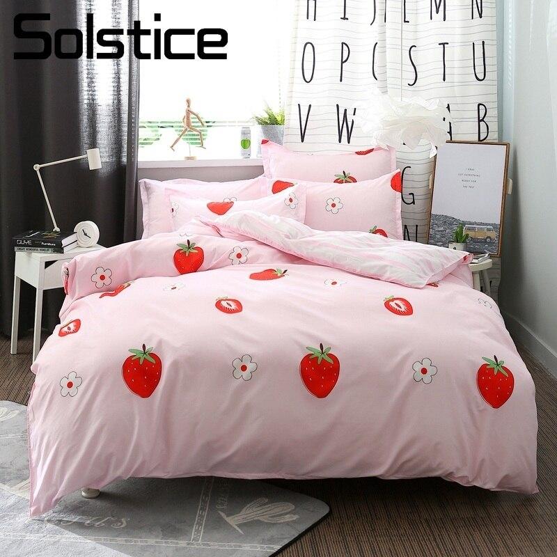 Solstice Home Textile 4Pcs King Full Bedding Set Girl Kid Teen Linen Kit Pink Strawberry Duvet Cover Pillowcase Stripe Bed Sheet