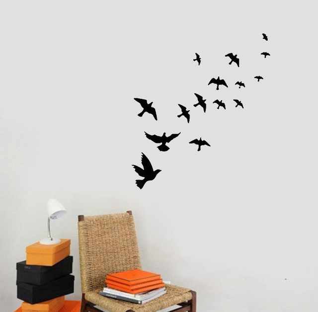 New birds flying feather vinyl wall sticker bedroom home decal mural art decor black