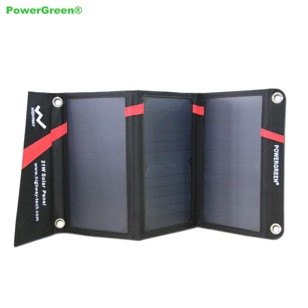 Powergreen plegable cargador solar 21 vatios batería de reserva externa banco de