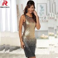 Reaqka Sexy 2017 Gradient Color Summer Sequin Dress Women Sleeveless Backless Bodycon Patchwork Club Sheath Midi