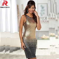 Reaqka Sexy 2017 Gradient Color Summer Sequin Dress Women Sleeveless Backless Bodycon Patchwork Club Sheath Midi