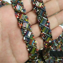 5yards/lot Fashion 15mm DIY craft braided beaded ribbon for collar sewing on costume applique 4 colors beads trims for clothing
