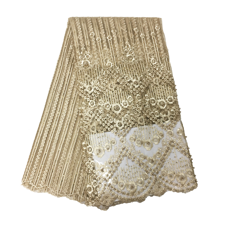 2018  High Quality Gold color African net lace French tulle lace bridal wedding  Russia lace fabric with beads , 5 yards /lot
