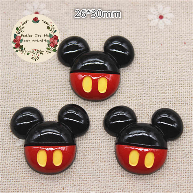 10PCS Kawaii Resin Mouse Anak Flatback Cabochon Perhiasan Aksesoris DIY Scrapbooking Kerajinan Membuat 26*30Mm