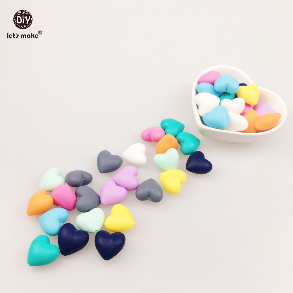 Lets make 20 mix color Heart Silicone Beads for teether DIY necklace/ Bracelet Teething Nursing Necklace silicon lets make