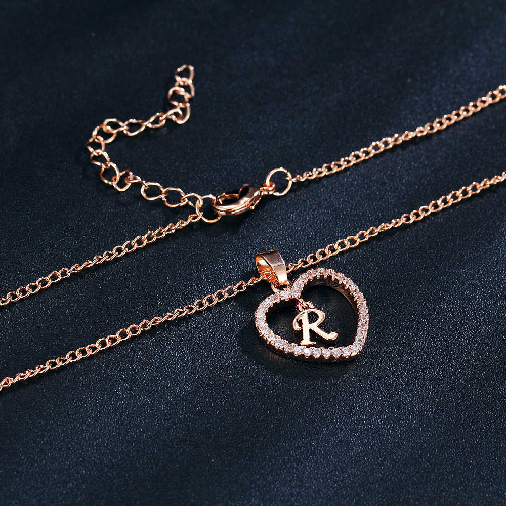 Se me rosa de ouro cor prata letra r cristal coração colares & pingentes declaração jóias feitas sob encomenda namorados presentes do casal do nascimento