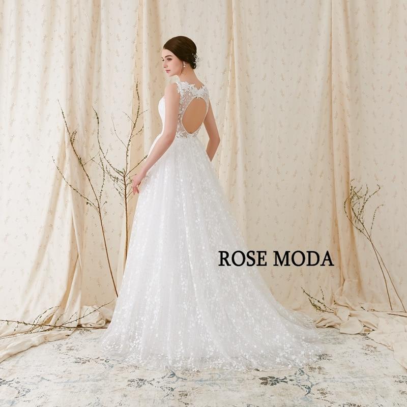 Rose Moda Delicate Chantilly kanten trouwjurk 2018 Backless kanten - Trouwjurken - Foto 3