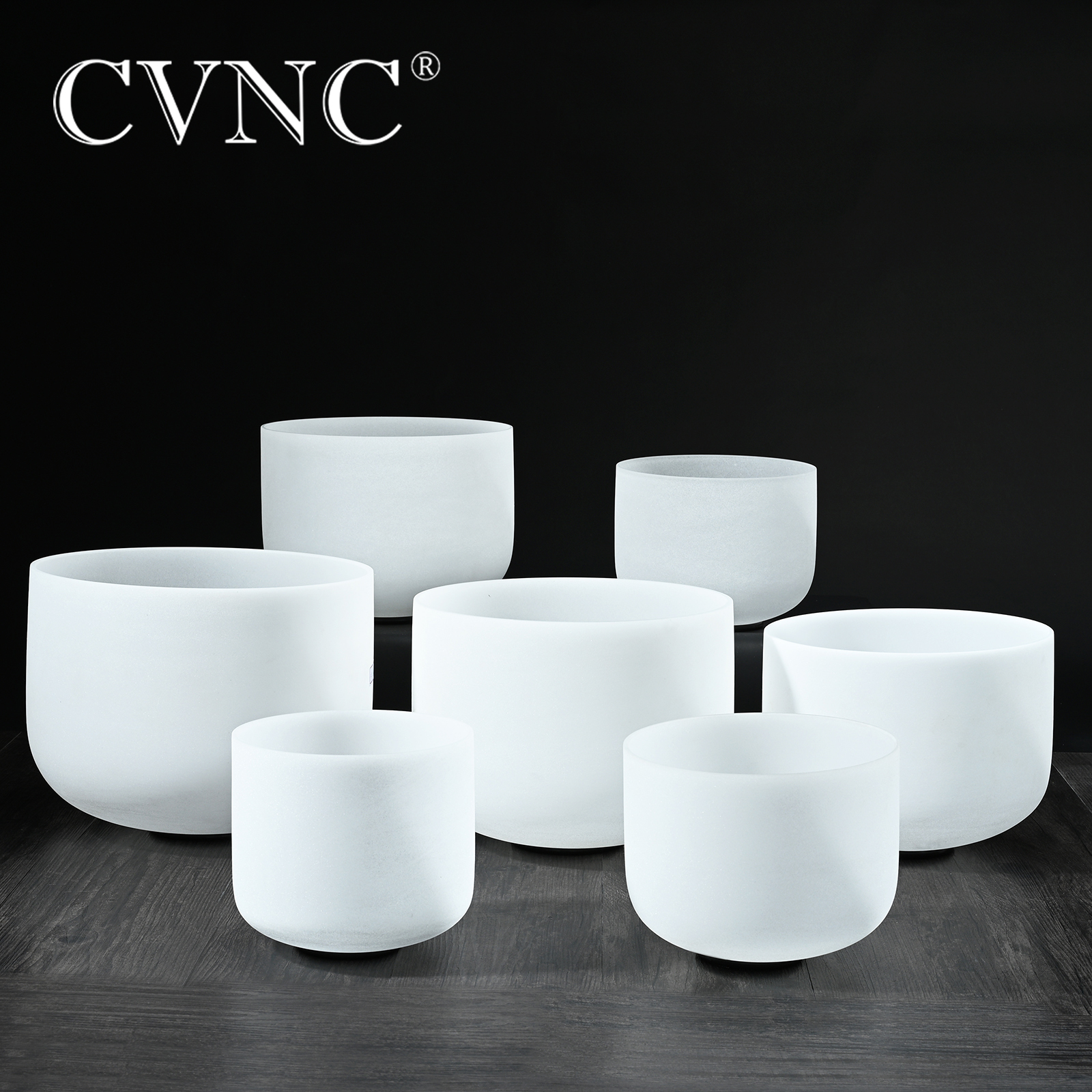 "CVNC 6""-12"" Note CDEFGAB Set Of  7PCS Chakra  Frosted Quartz Crystal Singing Bowl"