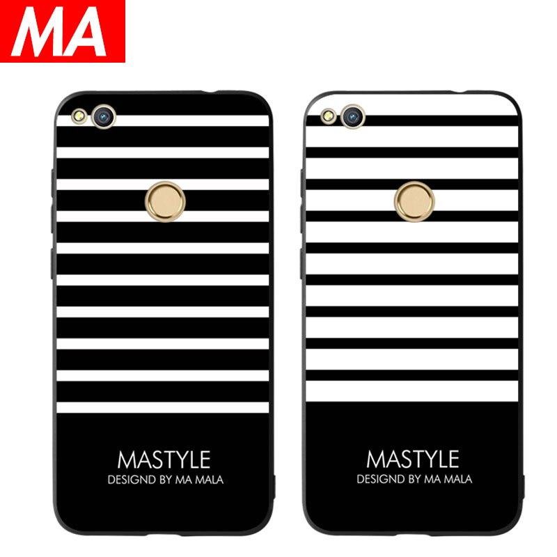 MA The Black and white Phone Case For Huawei P8 lite 2017 P9 P10 P20 Lite Plus Nova Honor 6C 6A 6X Honor 8 Honor 9 Mate 10 lite