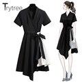 Vestido de verano tritree Casual con cuello en V camisa negra de retazos de rayas asimétricas dobladillo mujeres vestidos cinturón de oficina de señora A-Line vestido