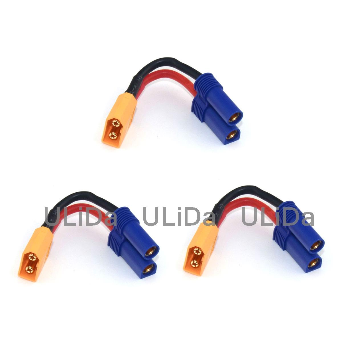 3pcs XT60 Plug Male to EC5 Style Female Connector Adapter /w 14AWG Wire for Rc Multirotor акустические кабели atlas hyper bi wire 2 to 4 5 0m transpose z plug gold