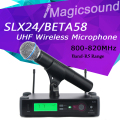 Professional SLX SLX24/BETA58 Top Quality Single Handheld Wireless Microphone UHF Vocal Microfone System Band R5 800-820Mhz