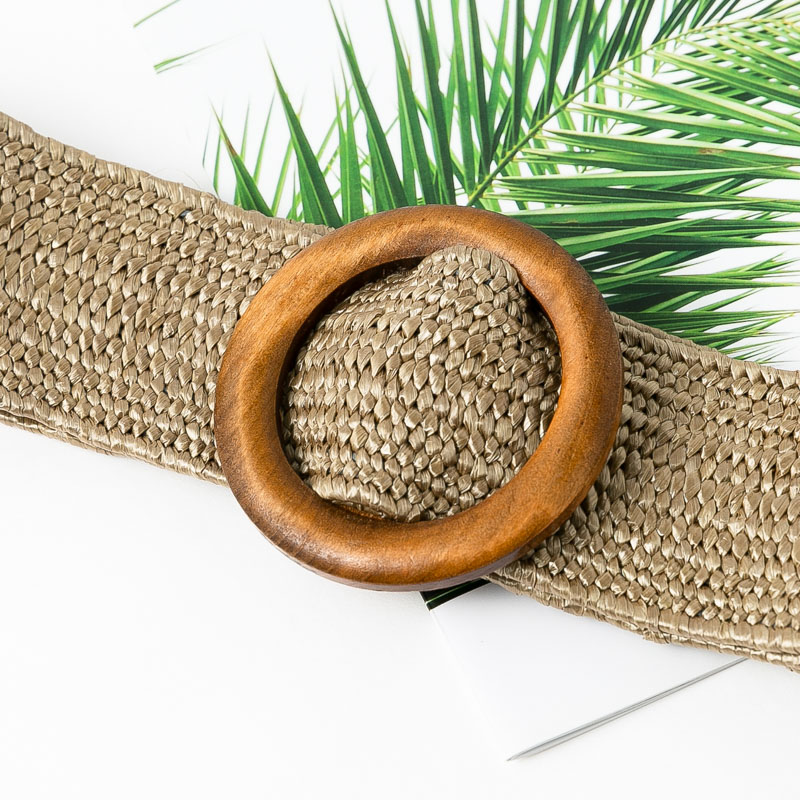 Conmoto Wooden Button Belt For Women Elastic Straw Belt Decoration for Dress Belt Casual Female Belt Accessories 11