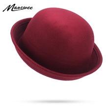 056745cc0b98f Linda chica Rosa Rojo Negro sombreros Otoño Invierno Vintage de Color  sólido Casual cúpula sombreros Fedora sombrero de iglesia .