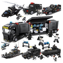 254Pcs Large Building Blocks Sets City Police Military Special Police SWAT Helicopter Educational Gift Toys for Children Kids sembo city police trucks military trunk satellite communication equipment vehicle building blocks educational toys for children