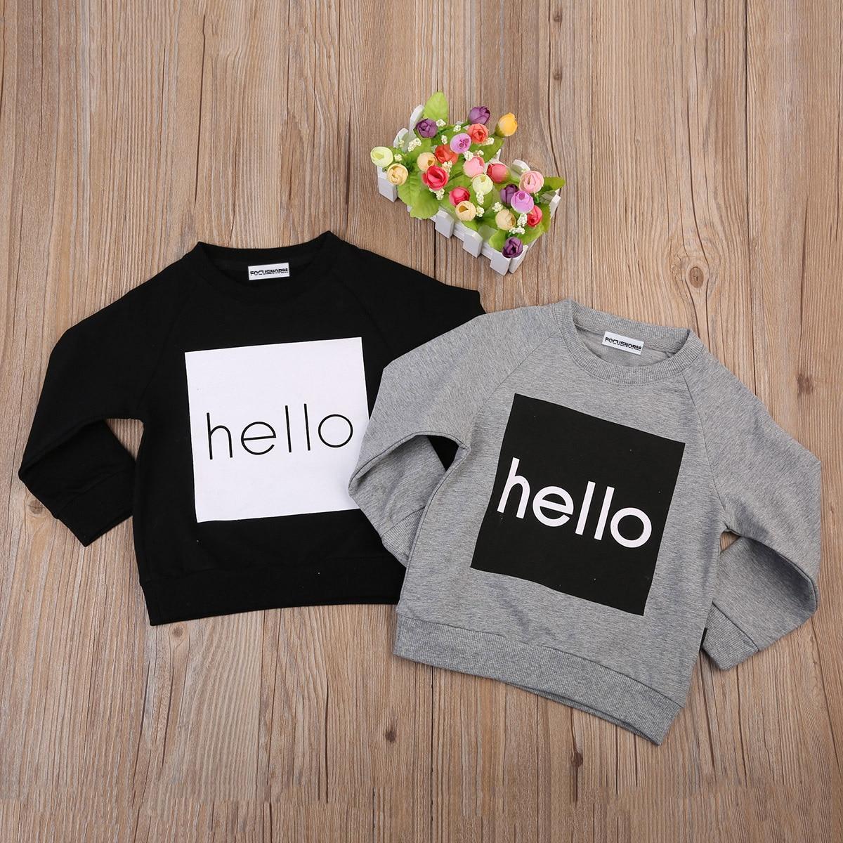 2017 Nieuwste Herfst Peuter Kinderen Jongen Meisje Unisex Warm Shirt Sweatshirt Casual Katoen Warme Lange Mouw Truien Jumpers Voor 1-6y Verkoopprijs