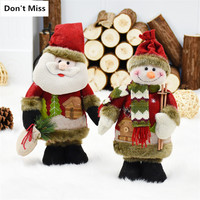Merry Christmas Gift 2pcs/lot Santa Claus+Snowman Christmas Doll Christmas Decorations for Home Xmas Ornament Decoracao De Natal