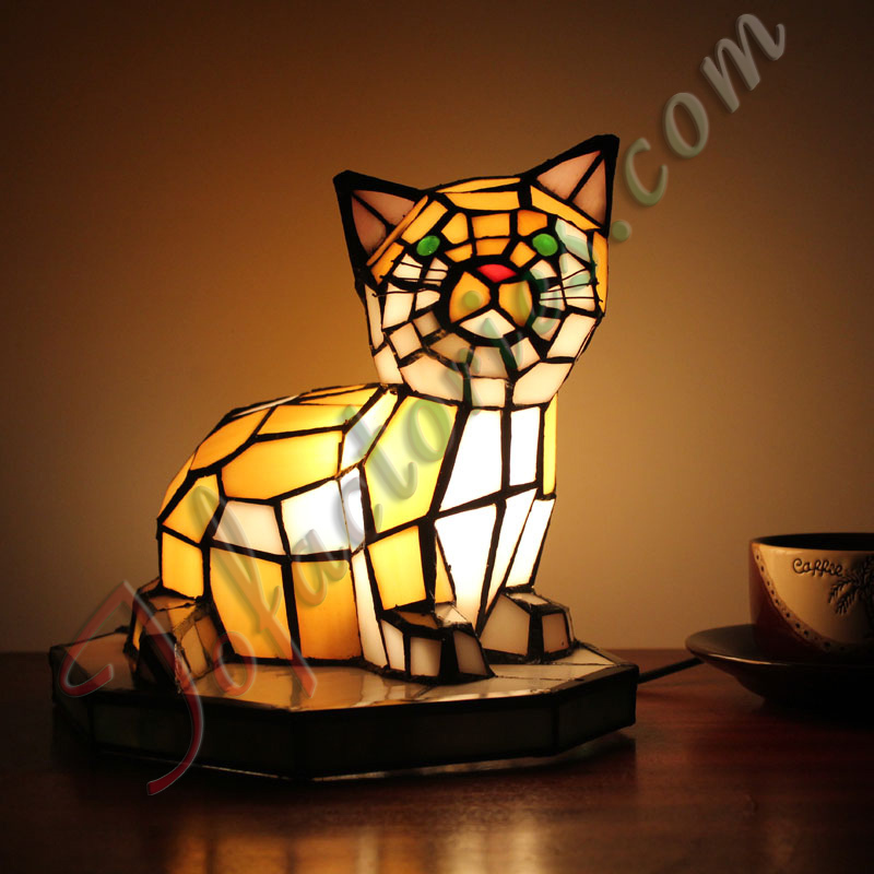 Cc Cat Two Stained Glass Difany Lampshade Crafts