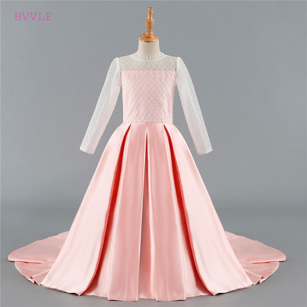 Pink 2019 Flower Girl Dresses For Weddings Ball Gown High Collar Long Sleeves Lace Bow First Communion Dresses For Little Girls