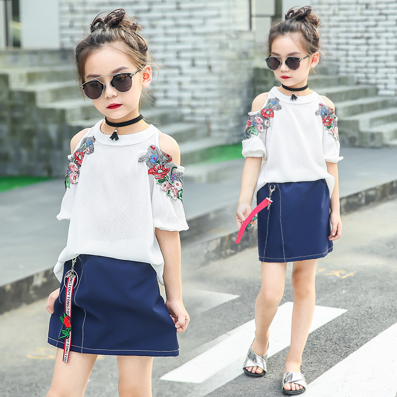 Girls Clothes Sets Summer 2018 Kids Clothing Outfits Teens Children T-shirt + Skirts 2 Pcs Suits For Baby Girl 6 8 10 12 14 Year
