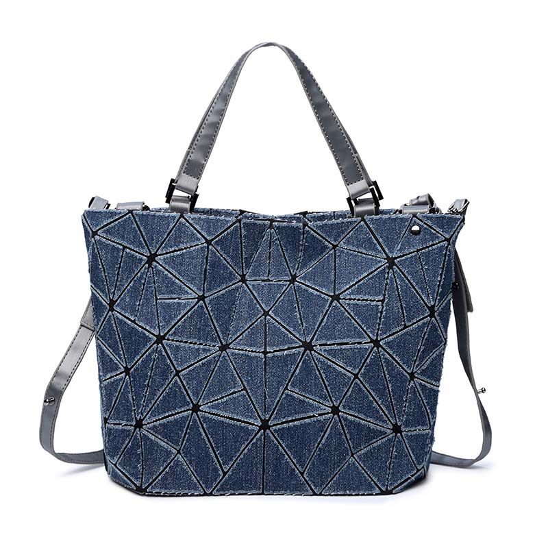 2018 New Korean Washed Denim Diagonal Tote Bags Geometric Plaid Women Handbag Shoulder&Cross body bag Lattice Ladies evening Bag original geekvape 6 in 1 coil pack for diy atomizer alien alpha braid fused clapton tidal coil rda rta rdta atomizer coil