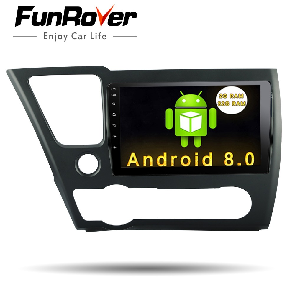 Funrover 9 Android 8.0 2 din voiture dvd radio magnétophone pour Honda Civic 2014 2015 EX/LX /DX GPS Navigation Radio USB WIFI Audio