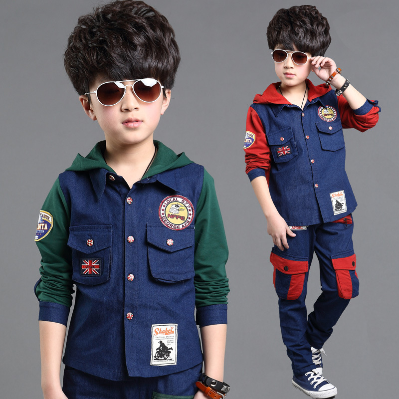 2018 Spring Denim Boys Clothes Two Sets,Casual Kids Clothes Boys Clothing,Children Clothing,Baby Boy Clothes,Height 100-160cm spring kid boys girls print sweater with hat children casual clothing 2016 children s sets summer kids baby boy clothes 2987