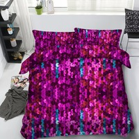 3d purple sequin&golden 4pcs 100%cotton bedding set twin/full/queen/king/super king size free shipping