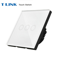 TLINK EU Standard Light Touch Switches 3 Gang 1 Way Crystal Glass Panel Wall Remoted Sensor