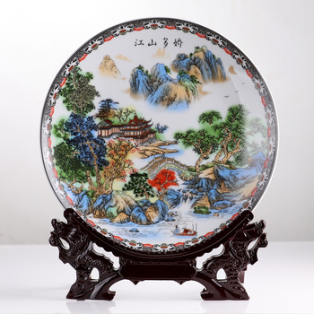 ceramics pastel landscape painting Jiao many decorative plate hanging plate Chinese living room table decoration