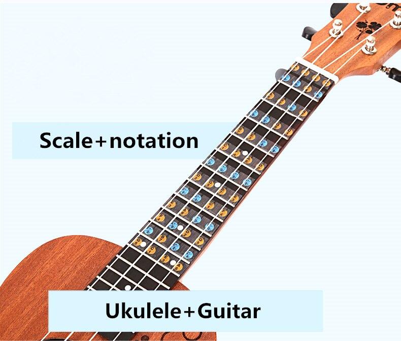 Guitar Ukulele Fretboard Note Sticker Fingerboard Scale Notation Ukelele Guitarra Parts Beginner Learn Faster Music Theory