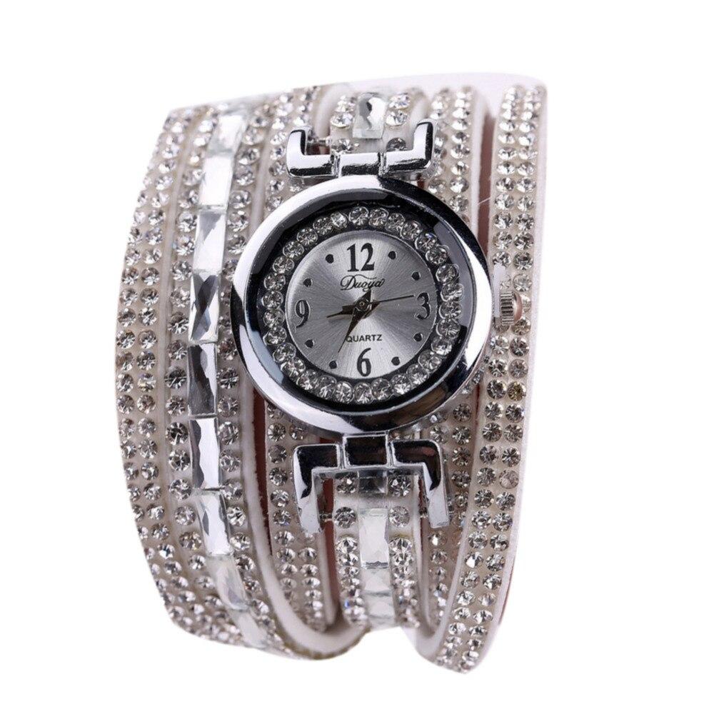 Атмосфера моды шикарные часы Женщина алмазный браслет, часы Женская кожаная обувь Luckstar стильные часы relogio feminino