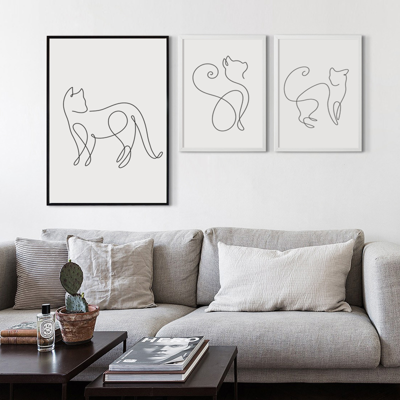 07G Minimalism Abstract Line Curve Cat Animal Canvas Art Painting Poster Picture Wall Living Room Bedroom Home Decoration Mural 17