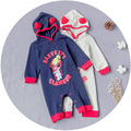 HIGH QUALITY Fashion Brand Baby Boys Girls Rompers Exclusive Cartoon Long Sleeve With Hats Warm 100% Cotton Baby Clothing