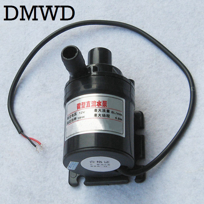 DMWD DC 12V Mini Brushless electric land Submersible Motor Water Circulation Pump Ultra-quiet Waterproof waterpump 8L/min 4.8M mini water pump zx43a 1248 plumbing mattresses high temperature resistant silent brushless dc circulating water pump 12v 14 4w