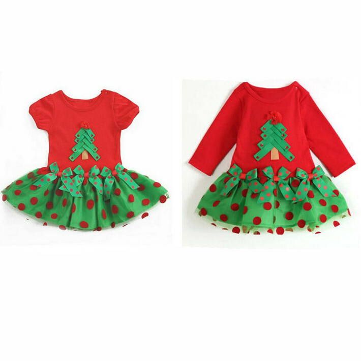 2018 christmas tree dress for girl kids Infant newborn red Girl dress long sleeve Princess Party Dresses toddler girl tutu Dress 2018 baby infant newborn girl winter princess dress headband outwear 3pcs set new born 1 2 year birthday party tutu dress