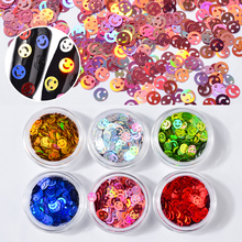6pcs Holo Smiling Hollow Nail Art Sequins Set Gold Silver Shiny Paillette DIY Tips Accessories Tools
