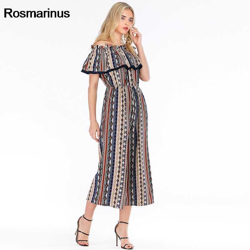 Комбинезон для Для женщин 2019 летние оборками Slash шеи с плеча сексуальный комбинезон карманов Высокая талия с принтом в стиле ретро винтажный комбинезон