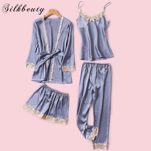 SILKBEUTY пижамы женские шелковые сексуальные кружева лето Sleeveness v-образным вырезом пижамы топ + шорты + халат + длинные брюки 4 шт. комплект ночное белье