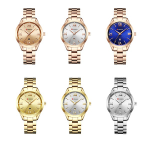 Image 5 - CURREN kadın saatler Top marka lüks altın bayanlar İzle paslanmaz çelik şerit klasik bilezik kadın saat Relogio Feminino 9007