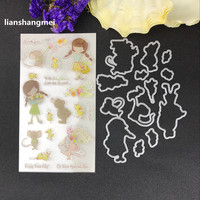 Lovely Girl Metal Cutting Dies And Stamp Stencils For DIY Scrapbooking