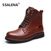Men Fur Plus Comfortable Casual Boots Male Lace-Up High-Cut Vintage Style Shoes Male Round Toe Winter Motorcycle Shoes AA51593