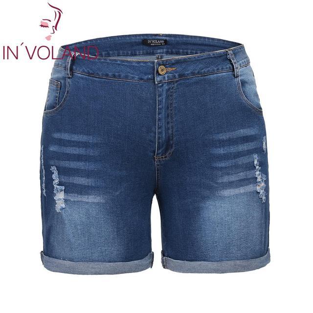 INVOLAND IN'VOLAND For Women Plus Size Denim Shorts Oversized Frayed Tassel