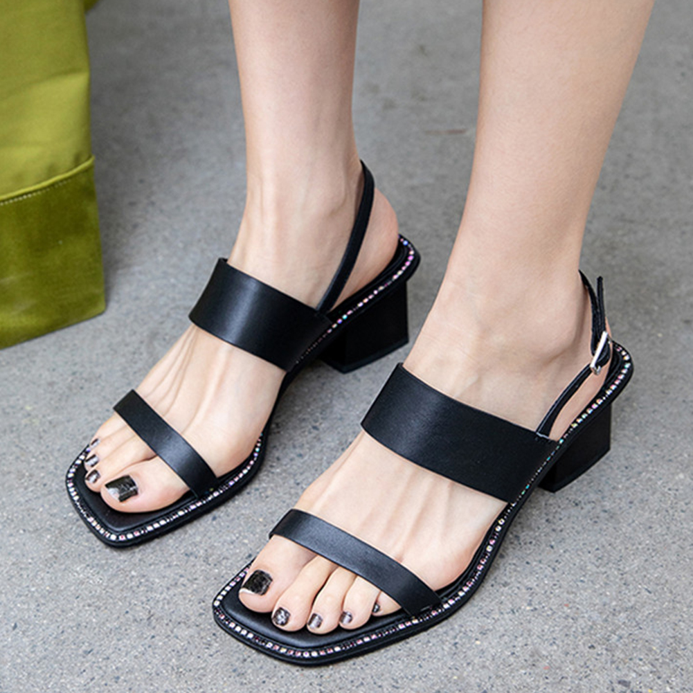 Brand luxury design womens genuine leather ladies chunky heels shoes woman casual office lady summer sandals 2019Brand luxury design womens genuine leather ladies chunky heels shoes woman casual office lady summer sandals 2019